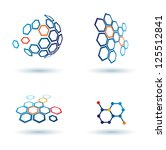 hexagonal abstract icons, business and communication concepts. raster version - stock photo
