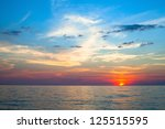 Beautiful sunset and sea beach. - stock photo
