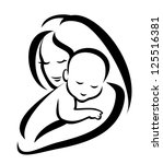 mother and baby silhouette, sketch in black lines. raster version - stock photo
