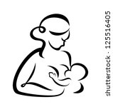 young woman breastfeeding her baby symbol. raster version - stock photo