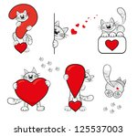 funny icons with cartoon cat...   Shutterstock . vector #125537003