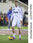 VALENCIA - JANUARY 20: Cristiano Ronaldo during Spanish Soccer League match between Valencia CF and Real Madrid, on January 20, 2013, in Mestalla Stadium, Valencia, Spain - stock photo