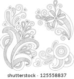 floral swirls set | Shutterstock .eps vector #125558837