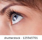 attractive woman eyes closeup part of face - stock photo