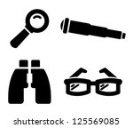 Search icons: magnifying glass, telescope, binoculars and glasses - stock vector