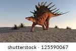 kentrosaurus on sand terrain - stock photo