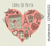 love in Paris - vector illustration. card - stock vector