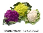 tris of Fresh cauliflower on white background - stock photo