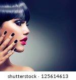 fashion woman profile portrait. ... | Shutterstock . vector #125614613