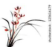 Chinese traditional ink painting of orchid on white background. - stock photo