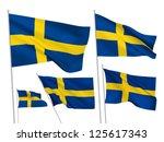sweden vector flags set. 5 wavy ... | Shutterstock .eps vector #125617343