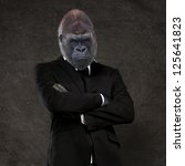 Gorilla Businessman Wearing A...