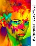 nature woman color  face art butterfly shadow - stock photo
