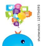 communications icons over white ... | Shutterstock .eps vector #125754593