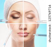 Collage made of some different images with the botox injections - stock photo