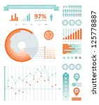 Detail info graphics collection: graphs, histograms, arrows, chart, icons and a lot of related design elements. Detail info graphic vector illustration. Information Graphics - stock vector