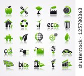 ecology icons with reflection. | Shutterstock .eps vector #125780363