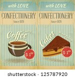 Vintage two Cards Cafe confectionery dessert  Menu in Retro style - vector illustration - stock vector
