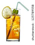 Long Island Iced Tea long drink , isolated on white - stock photo