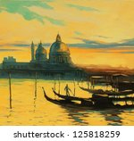 gondolas on landing stage in venice, painting by oil paints , illustration - stock photo