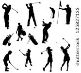 various golfers in silhouettes. ... | Shutterstock .eps vector #125827133