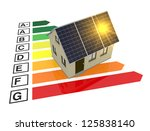 energy performance scale with a house and solar panels (3d render) - stock photo