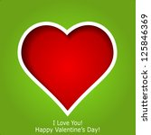 Abstract red heart cutted from green paper background. Valentines day greeting card. Vector eps10 illustration - stock vector