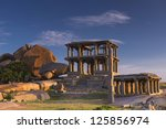 Vittalla temple in Hampi, Chariot, Karnataka, India - stock photo
