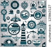 large set of marine labels and... | Shutterstock .eps vector #125863127