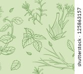 hand drawn pattern with herbs | Shutterstock .eps vector #125863157
