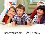 group of happy kids watching tv ... | Shutterstock . vector #125877587