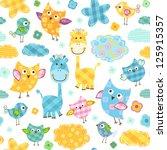 cute happy birds   giraffes... | Shutterstock .eps vector #125915357