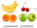 group of fresh colorful fruit.... | Shutterstock .eps vector #125923193