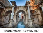 View of Hadrian's Gate in old city of Antalya Turkey - stock photo