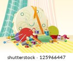 sewing kit  sewing accessories  ... | Shutterstock .eps vector #125966447