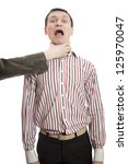 hand choking man isolated on... | Shutterstock . vector #125970047
