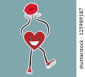 walking heart sticker walking...   Shutterstock .eps vector #125989187