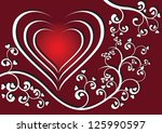 red background with a floral... | Shutterstock .eps vector #125990597