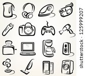 electric goods of household appliance icons set - stock vector