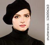 beautiful girl in beret   Shutterstock . vector #126006263