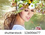 Beautiful Woman With Flower...