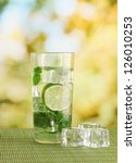 glass of water with ice  mint...   Shutterstock . vector #126010253