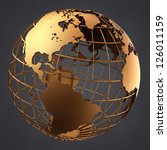 A photo of a gold globe on a dark grey background. - stock photo