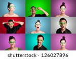 set of girls and guys on colorful background - stock photo