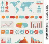 retro vector set of infographic ... | Shutterstock .eps vector #126031307