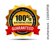 100% SATISFACTION guaranteed gold label with red ribbon vector illustration - stock vector