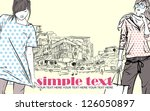 two girls in sketch style on a... | Shutterstock .eps vector #126050897