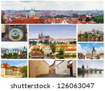 card with day views of prague | Shutterstock . vector #126063047