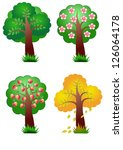 nature vector banner elements four seasons tree - stock vector