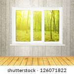 A beautiful view of spring forest from the window - stock photo